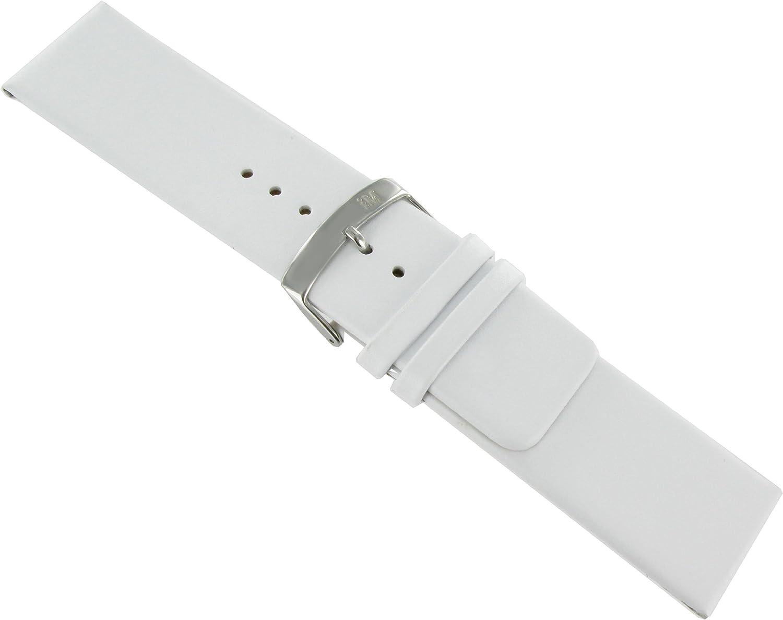 22mm Morellato Genuine Leather Flat Unstitched Square trust Attention brand Tip White