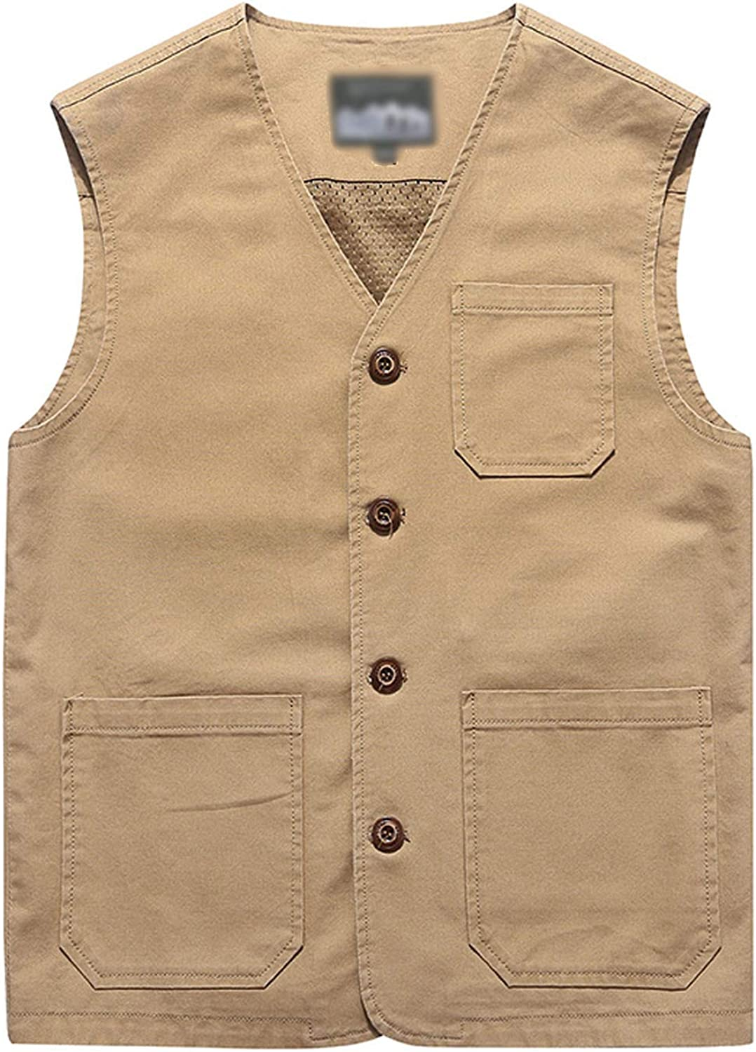 1920s Style Mens Vests Flygo Mens Casual Cotton Outdoor Fishing Travel Safari Photo Vest with Pockets  AT vintagedancer.com