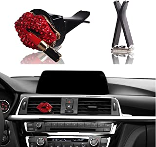 Bling Car Decor Car Air Vent Clip Charms, Red Crystal Lips w/Lipstick Interior Car Accessory, Women Fashion Car Decoration Charms, Rhinestone Car Bling Accessories (Red Kiss Lips)