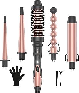 ست ترکه ای 5 در 1 KIPOZI ، عصای حلقه ای موی گرم کن فوری با 4 بشکه سرامیکی قابل تعویض و 1 برس آهنی پیچش یا حلقه زنی
