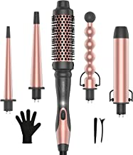 KIPOZI Professional 5-in-1 Curling Wand Set, Instant Heat Up Hair Curler Wand with 4 Interchangeable Ceramic Barrels and 1...