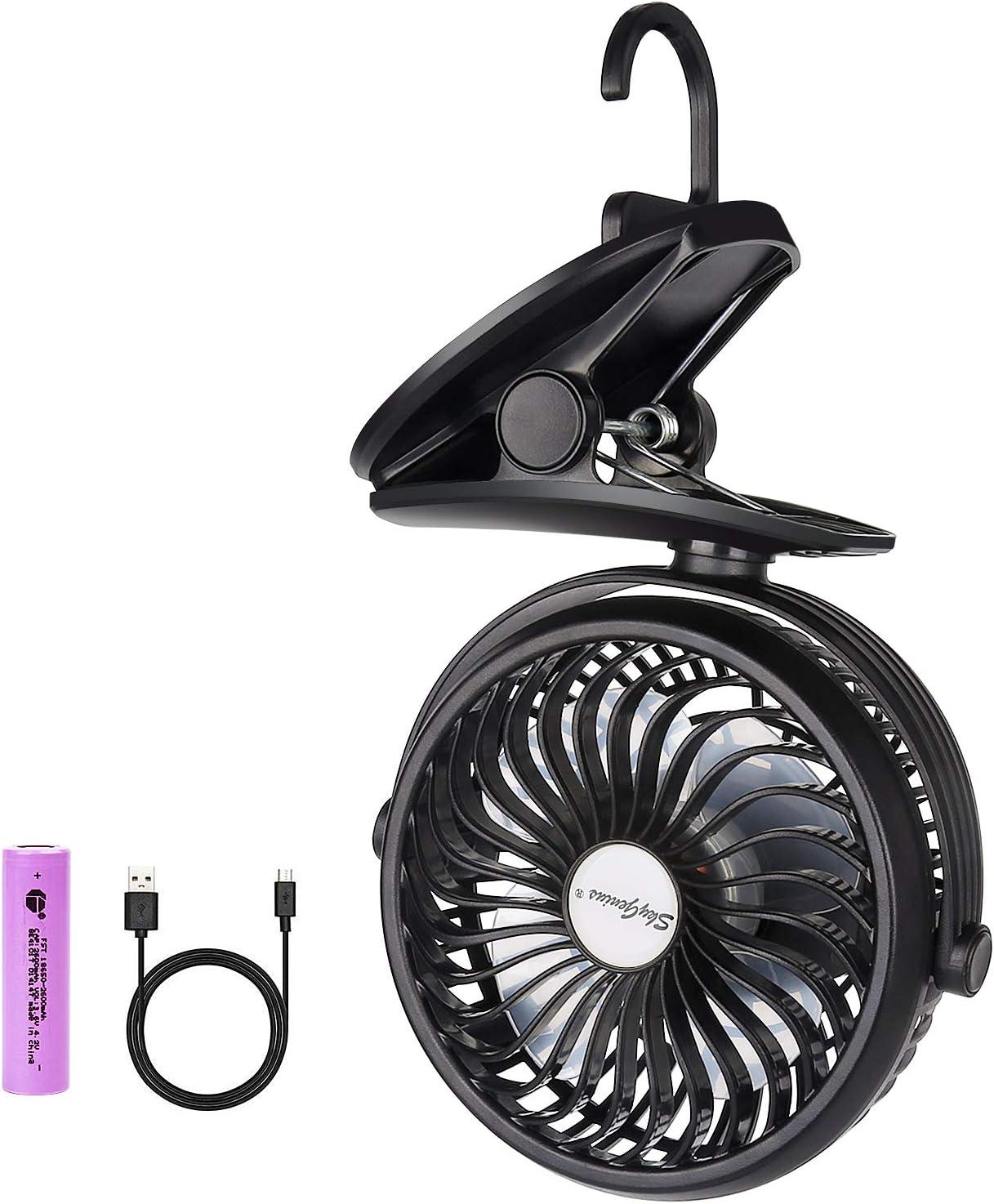 SkyGenius Battery Operated Clip on Stroller Fan, Portable Mini Desk Fan Rechargeable(Black)