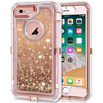 Anuck Case for iPhone 6S Case, for iPhone 6 Case (4.7 inch), 3 in 1 Hybrid Heavy Duty Defender Case Sparkly Floating Liquid Glitter Protective Hard Shell Shockproof TPU Cover - Rose Gold