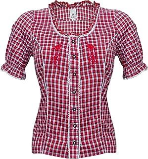 Alpin-Trachten Damen Bluse Trachtenbluse Dirndlbluse T-Shirt Bluse Rot Kariert mit Stickerei - 314
