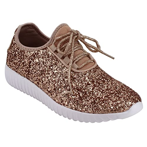 825ac4cad25b Forever Link Women s Remy-18 Glitter Lace-Up Low Top Fashion Sneaker