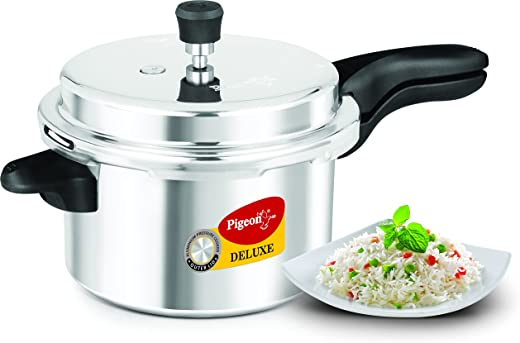 Pigeon Pressure Cooker - 5 Liters - Deluxe Aluminum Outer Lid Stovetop & Induction - Cook delicious food in less time: soups, rice, legumes, and more!