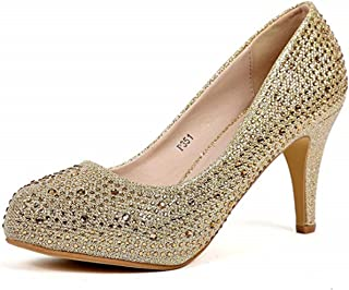 Cull4U Women's Fulgurate Rhinestones Pumps Shoes