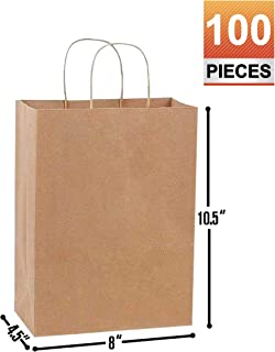 8x4.5x10.5 Brown Kraft Paper Gift, Shopping, Retails, Wedding, Merchandise, Strong and Reusable Bags with Handles [100Pcs]