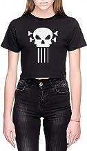 Bas Gitaar En Schedel Dames Crop T-Shirt Zwart Wom...
