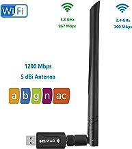 Realtek RTL8812BU USB WiFi Adaptador 1200Mbps 5dBi Antena AC1200 Dual Banda 5.8GHz 2.4GHz WiFi Dongle 802.11 a b g n AC USB 3.0 Adaptador Compatible Windows 10/8/7 Mac