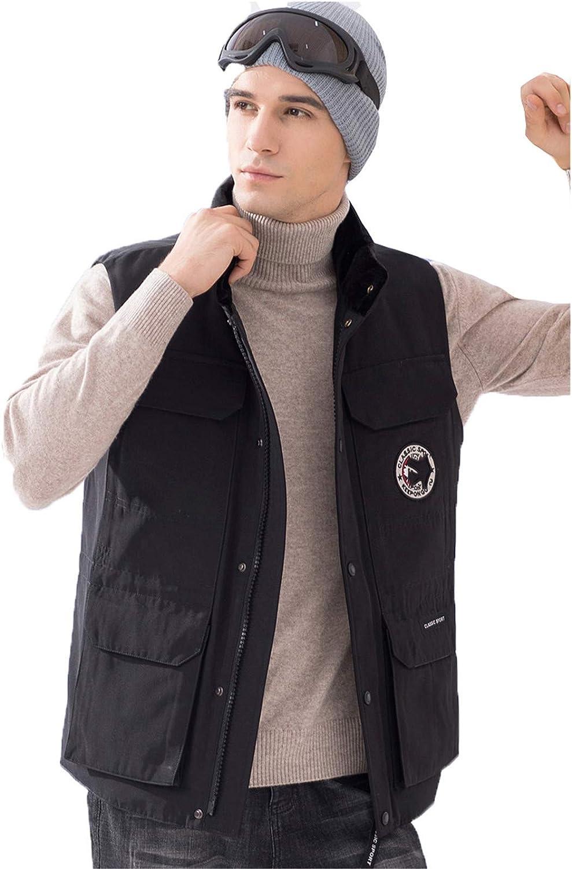 Snhpk Men's Down Vest Outerwear Gilets Coat Softshell Jacket, Winter Thicken Warm Windproof Overcoat Waistcoat,Black,XXL