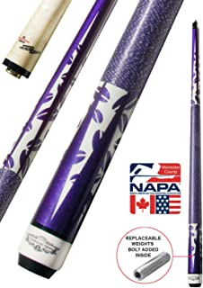 Champion Blue or Purple Pool Cue Stick with Low Deflection Shaft, Cuetec Glove, Retail Price: $118