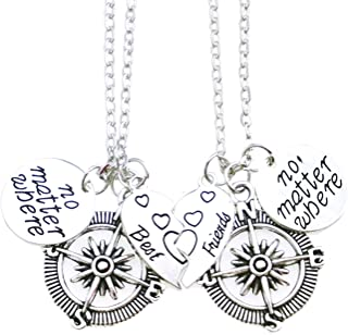 ALoveSoul Best Friend Necklaces Side by Side Or Miles Apart BFF Gifts Pizza Friendship Necklace Set