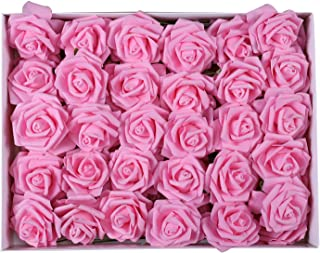 Duovlo Artificial Rose Flower 60 PCS Foam Roses Marry Bridesmaid Bouquets DIY Wedding Centerpieces Party Baby Shower Center Arrangements Decorations (Pink)