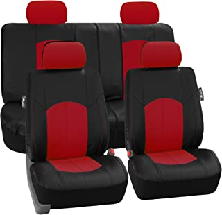 FH Group Limited TIME ONLY FH-PU008114 Perforated Leatherette Full Set Car Seat Covers (Airbag & Split Ready), Red/Black Color - Fit Most Car, Truck, SUV, or Van