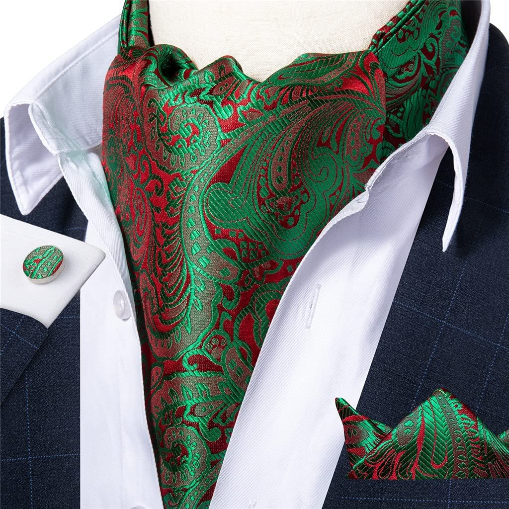 XJJZS Mens Black Gold Floral Vintage Cravat Tie Self British Gentleman Wedding Party Necktie Hanky Set (Color : Green Red Floral, Size : One Size)