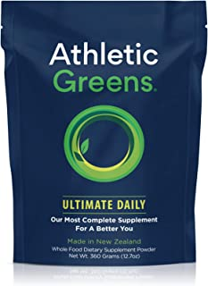 Athletic Greens Ultimate Daily, Whole Food Sourced All in One Greens Supplement, Superfood Powder, GlutenFree, Vegan and Keto Friendly, 30 Day Supply, 360 Grams (Athletic Greens)