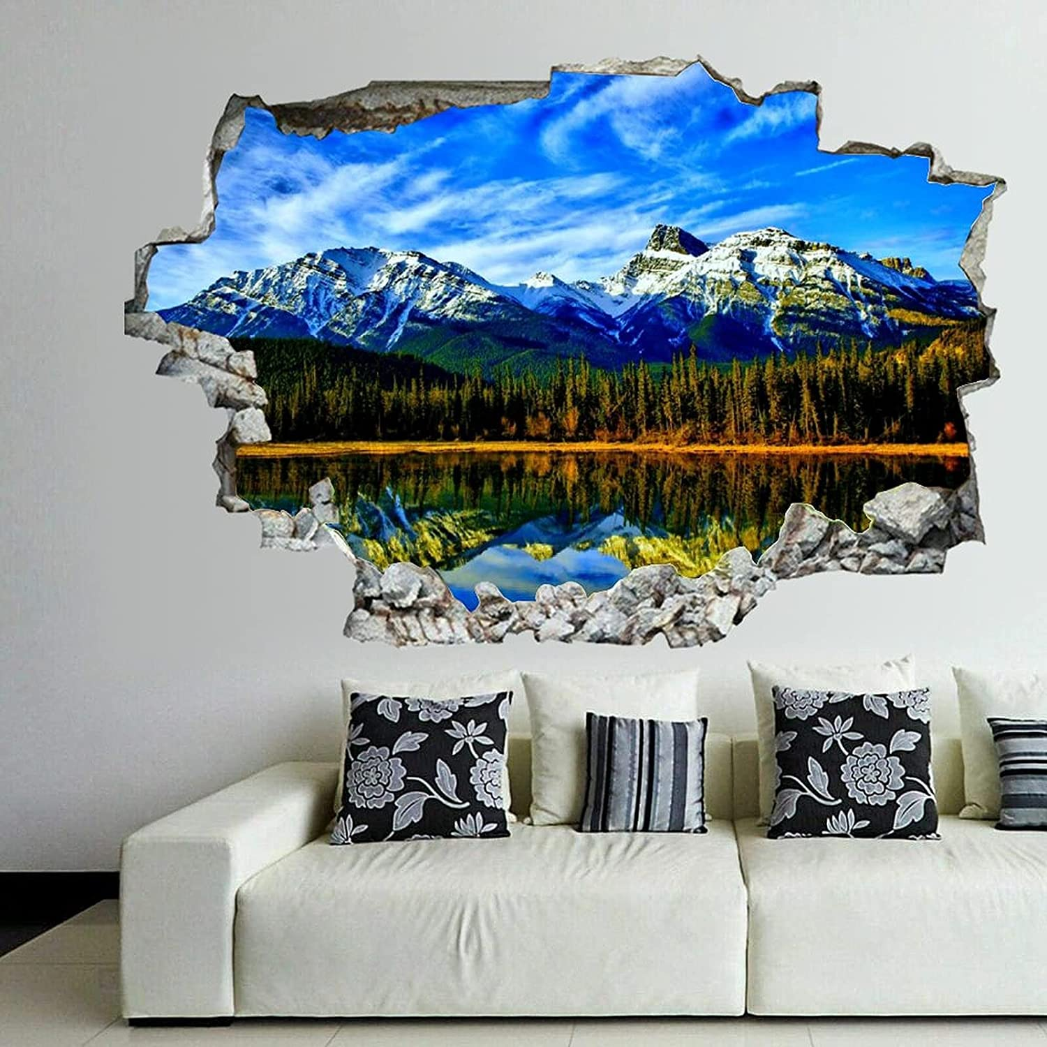 Diuangfoong Lake Mountains Popular product Forest Natural Wall 3D Decals Scenery Spasm price