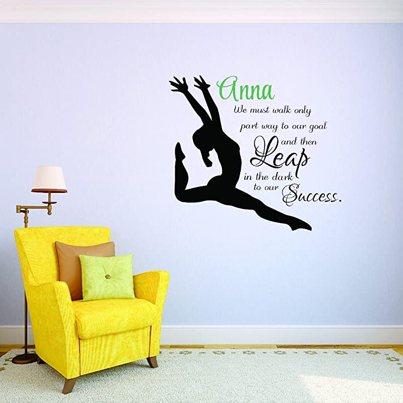 Personalized Custom Name Gymnastics Quote Leaping Girl Sports Team Teen Bedroom Kids Sticker Vinyl Wall Decal 10 Inches X 20 Inches
