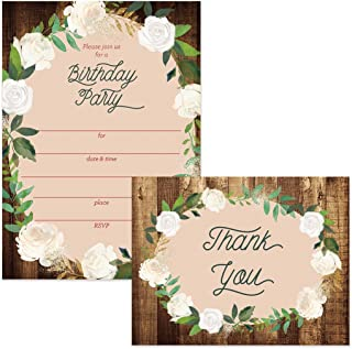 Birthday Invitations & Matching Thank You Notes (100 of Each) Envelopes Included, Large Gathering Event Country Design Fill-in Invites & Folded Thank You Cards Church Office Birthday Best Value Set