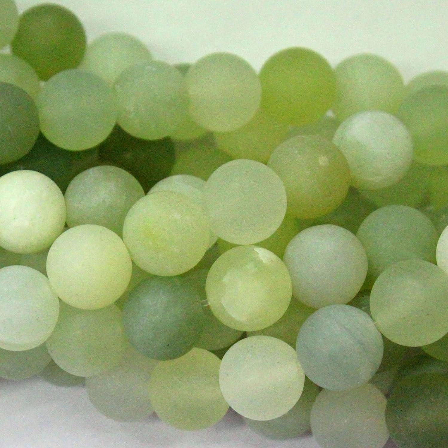Natural Unpolished New Green Jade 10mm Matte Round Jewerlry Making Gemstone Beads
