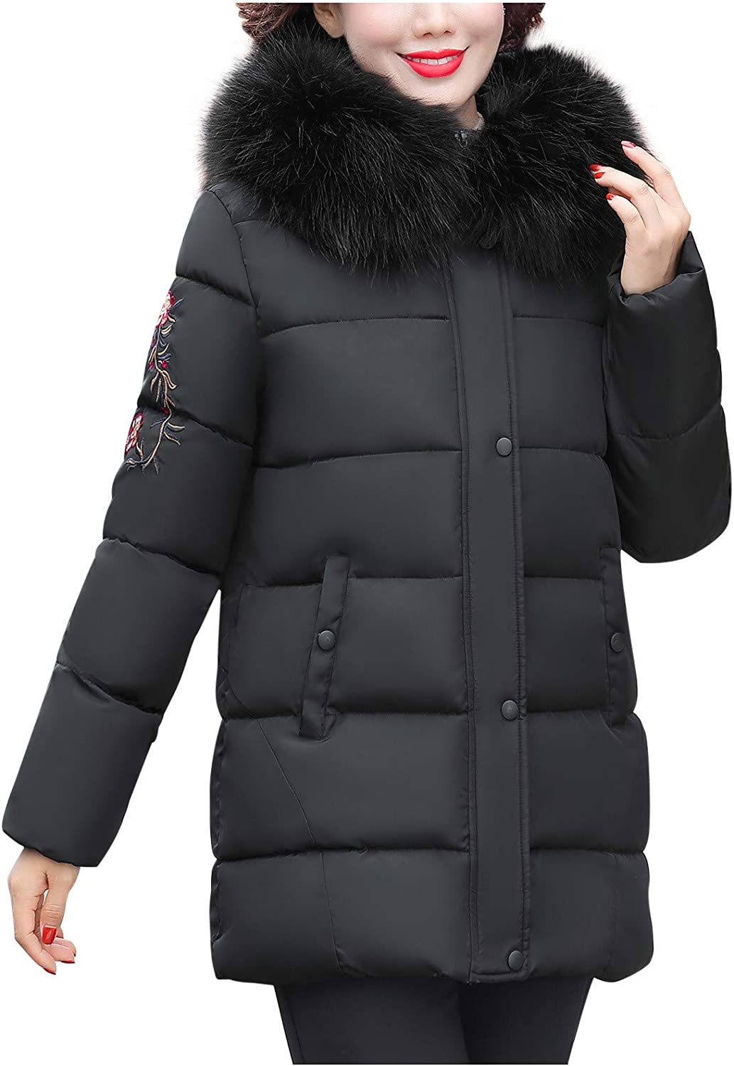 Giulot Winter quilted jacket for women Parka with Faux Fur Embroidery Lightweight and Soft Long Hooded Jacket Puffer Coat
