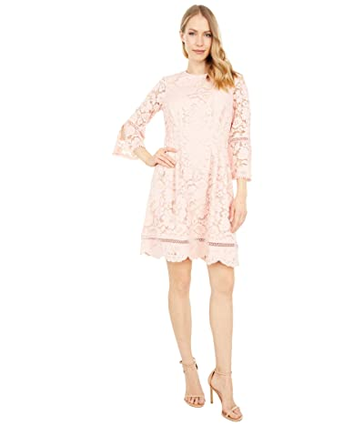 Vince Camuto Lace Pinch Pleat Fit-and-Flare Dress (Blush) Women