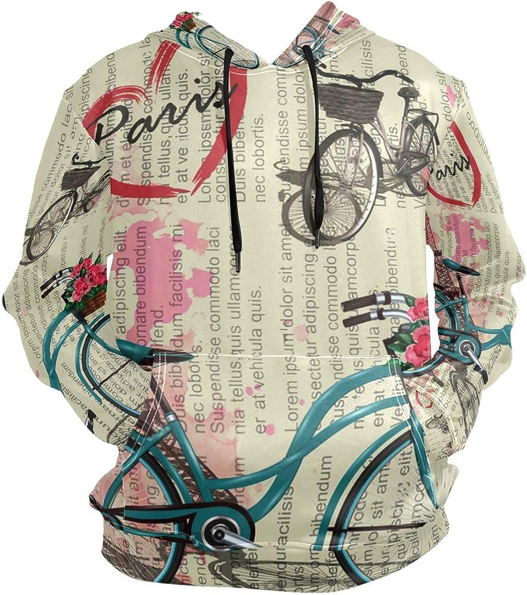 SLHFPX Vintage Paris Newspaper Hoodie 3D Pullover Hooded Long Sleeve Workout Sweatshirts