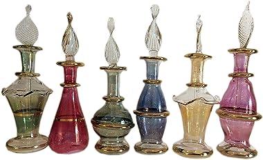Kemet Art LOT/Set of 12 Mouth Blown Egyptian Perfume Bottles Pyrex Glass