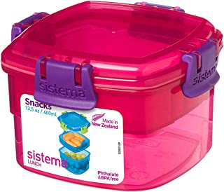 Sistema Lunch Collection Snack Container, 13.5 oz./0.4 L, Pink