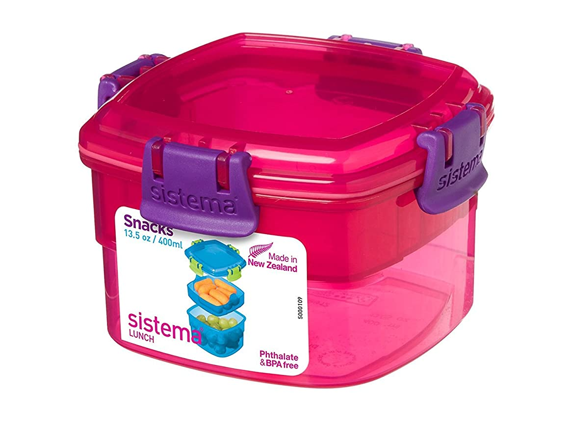 全能自信があるキノコSistema Lunch Collection Snacks To Go Food Storage Container, 13.5 oz, Pink by Sistema