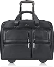 Solo New York Franklin Rolling Leather Laptop Bag, Black, 15.6""