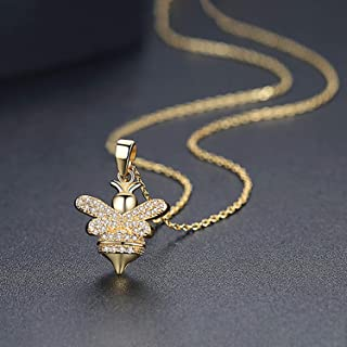 FightLY Creative Copper Inlay AAA Zircon Bee Pendant Necklaces Korean Women's Charm Jewelry Accessories Simple Necklace Clavicular Chain