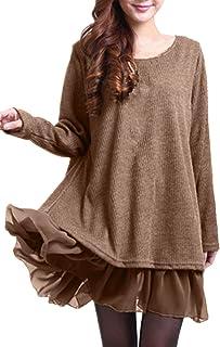 Mujer Vestidos Elegante Algodón Corto Casual Gasa Lazo Cuello Redondo Camisetas Manga Larga Chic Fiesta Otoño Invierno Tallas Grandes