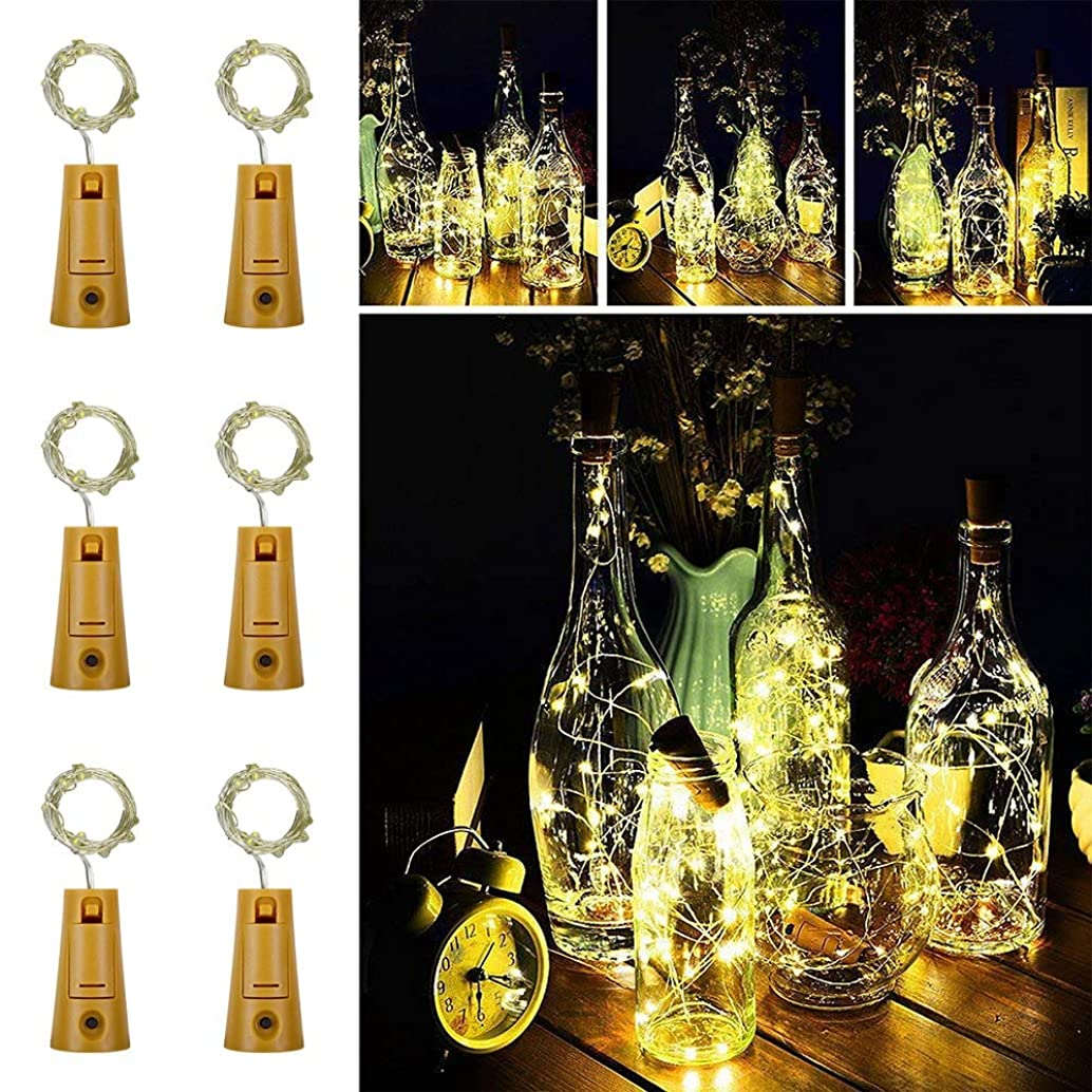 Omika Upgraded 8 Modes Wine Bottle Cork Lights Silver Wire String Lights,2m 20 LEDs Battery Operated Wine Bottle Fairy Lights for DIY,Party,Bedroom,Wedding,Indoor Decorations 6 Pack(Warm White)