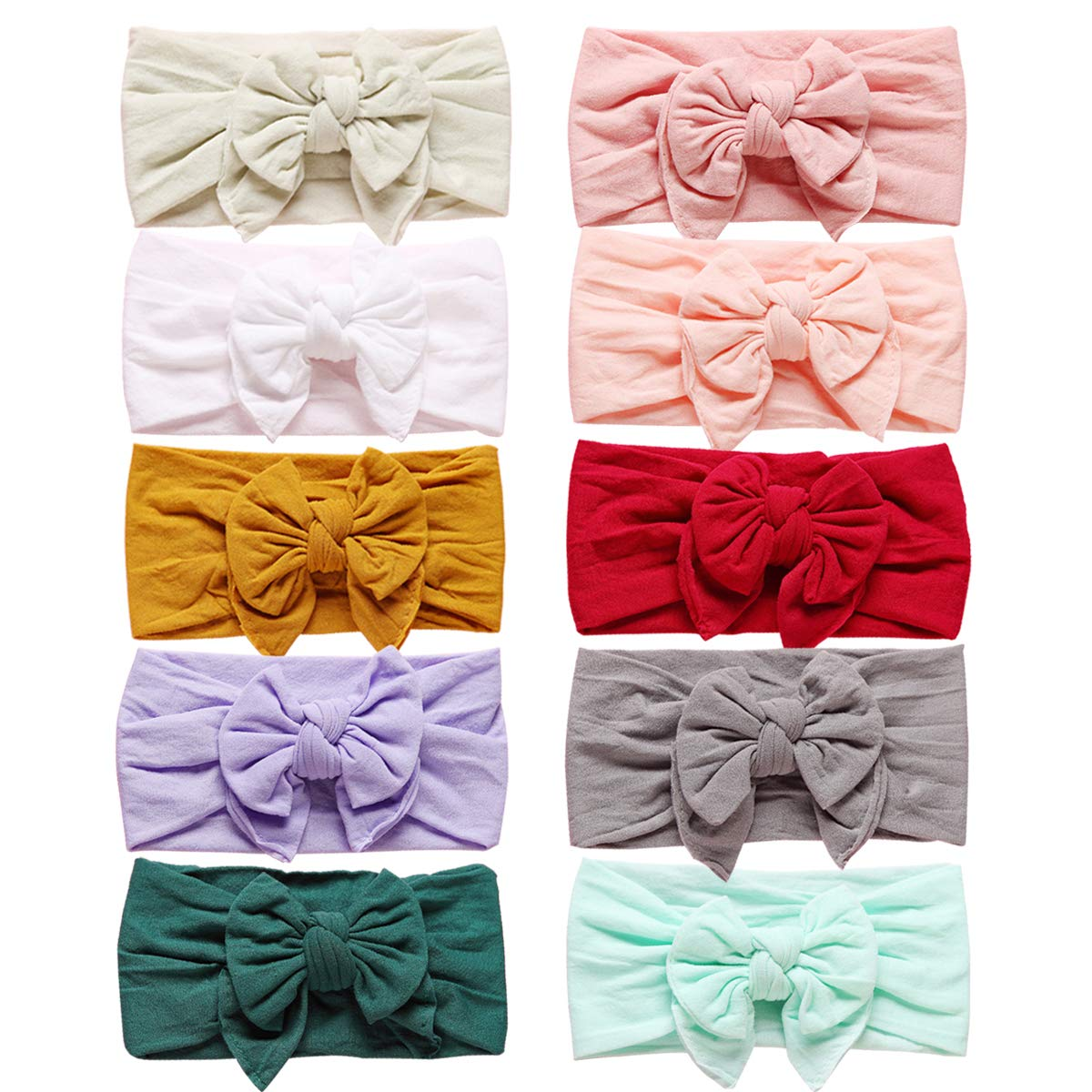 Baby Stretchy Headband Turban Knotted, Girl's Hairbands with Bows Big Hair Bow Headband for Infant Baby Girls (SM07)