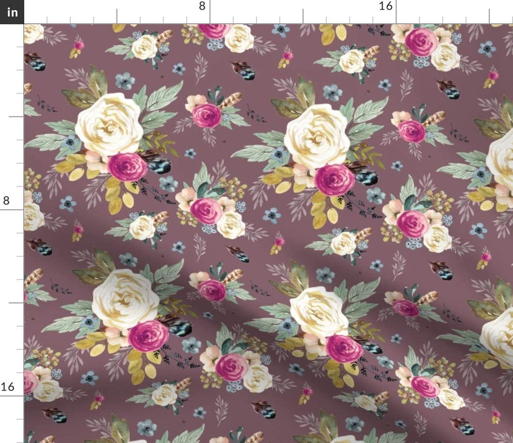 2021 autumn and winter new Spoonflower Fabric - Western Autumn Flowers Mauve Woodland Boho Max 84% OFF