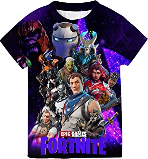 Fortnite Teenagers Short Sleeve Tee Shirts 6-16 Years, Crewneck T-Shirt Summer Shirt Tops