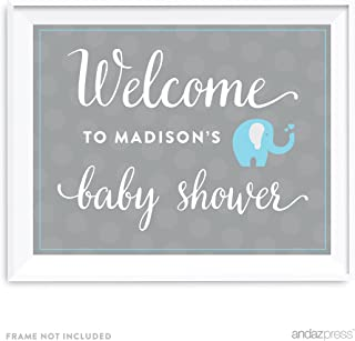 Andaz Press Boy Elephant Baby Shower Collection, Personalized Party Sign, Welcome to Madison's Baby Shower, 8.5x11-inch, 1-Pack