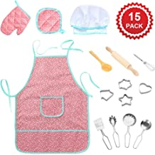 Geefia Apron Set for Kids, 15pcs Cooking and Baking Chef Set Includes Apron, Chef Hat, Mitt and Utensil for Toddlers Costume Role Play (Waterproof)