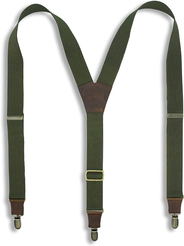 Suspenders Army Green Elastic Wide 1.36 inch | Wiseguy Original