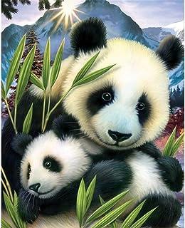Fipart DIY Peinture Diamant Point de Croix kit d'artisanat ,Salon Stickers muraux décor à la Maison。 Panda(12X14inch/30X36CM)