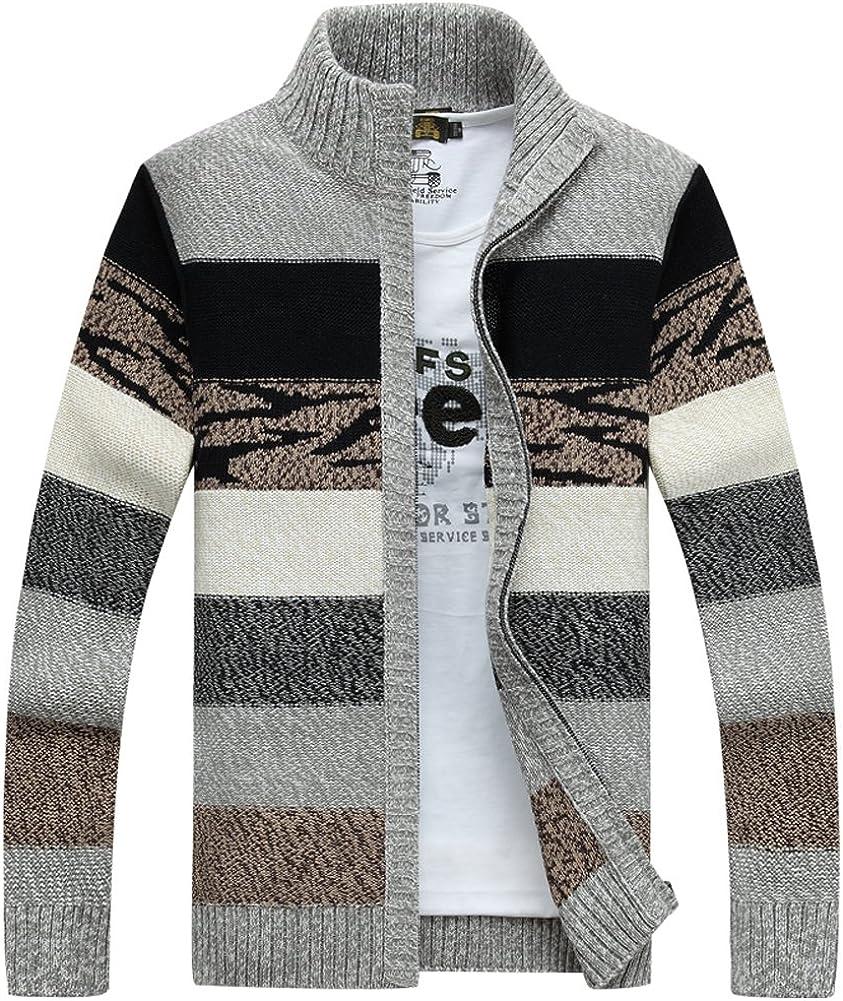Kedera Men's Long-Sleeve Colorblock Full Zip Kintted Pullover Cardigan Sweater