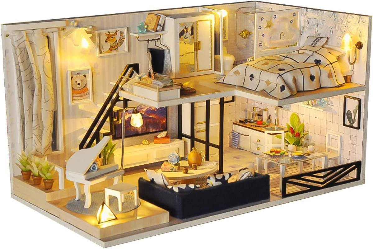 EIRMEON DIY Discount mail order Miniature Dollhouse Kit Dol with Wooden 3D Finally resale start Furniture