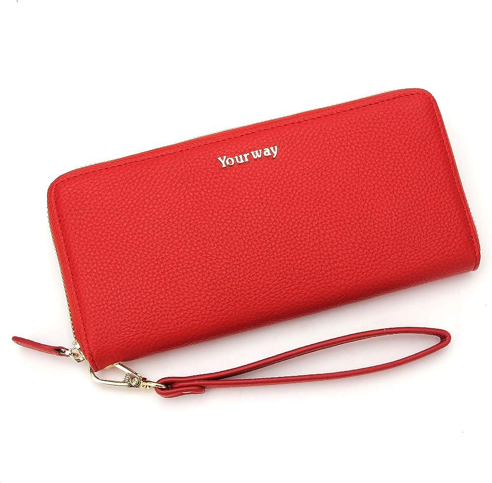 Yourway sweden, porta carte di credito, portafoglio da donna, protezione rfid, in pelle sintetica, ROSSO11