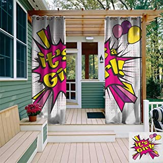 HDGZ Gender Reveal, Outdoor Curtain Wall, Pop Art Style Comics Its A Boy Vintage Announcement Theme, for Balcony W84 x L96...