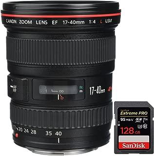 Canon (8806A002 EF 17-40mm F/4 L USM Lens + Sandisk Extreme PRO SDXC 128GB UHS-1 Memory Card