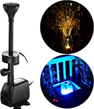 YADICO 730GPH (2800L/H, 110V/55W) Submersible Pump Fountain with RGB Color Changing Ring Lighting Water Fountain Spray Nozzles Kit Multiple Decoration for Garden Pond Indoor and Outdoor Landscape