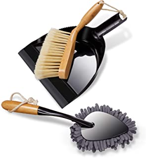 Bamboo Brush with Dustpan Set Comfort Grip Dustpan and Brush Sweeper Set with Chenille Duster for Sweeping