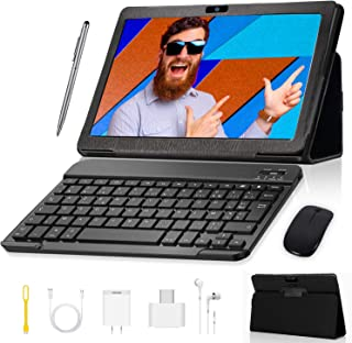 Tablet 10 inch, Android 9.0 GO Edition Tablets with Wireless Keyboard Case and Mouse, 3GB RAM 32GB ROM, Quad Core Processor, IPS FHD Display, 8MP Dual Camera, 3G SIM, WiFi, GMS Certified - Black
